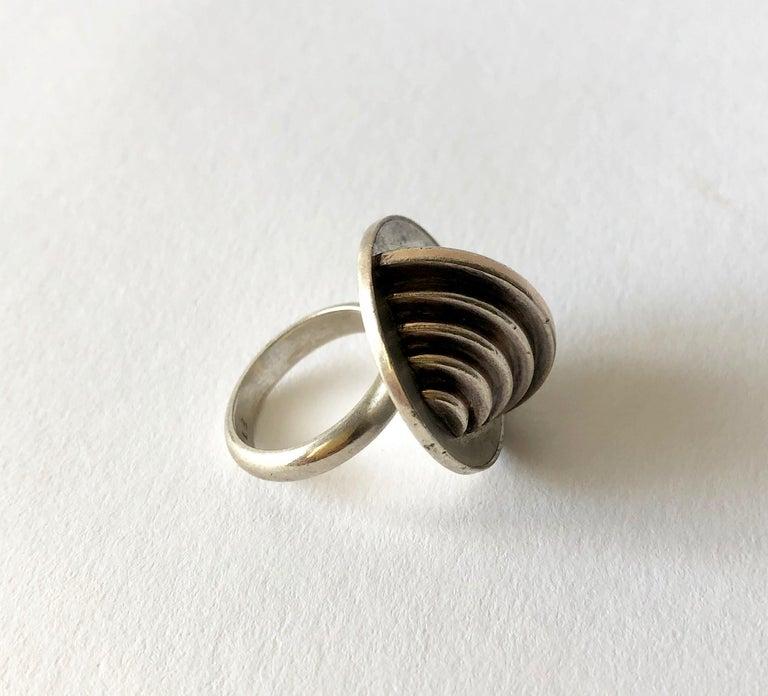 1967 Edival Ramosa Gem Montebello Silver Geometric Brazilian Modernist Ring In Good Condition For Sale In Los Angeles, CA