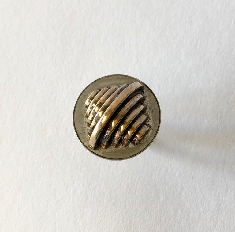 Women's or Men's 1967 Edival Ramosa Gem Montebello Silver Geometric Brazilian Modernist Ring For Sale