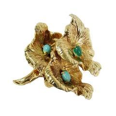 1967 Grosse of Germany Gilded Gold Triple Floral Brooch