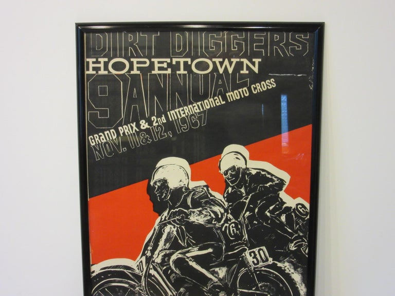 A vintage 1967 Dirt Diggers Hopetown motorcycle Grand Prix and International Moto Cross poster by California artist Earl Newman. Signed in the plate this was one of the earliest uses of the term Moto Cross which was termed in Europe.