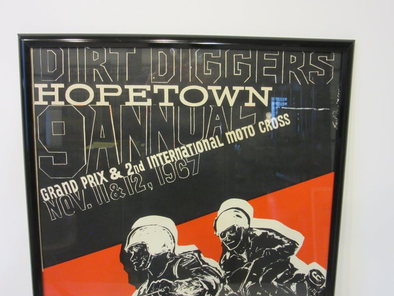 1967 Hopetown International Moto Cross Poster by Earl Newman In Good Condition For Sale In Cincinnati, OH