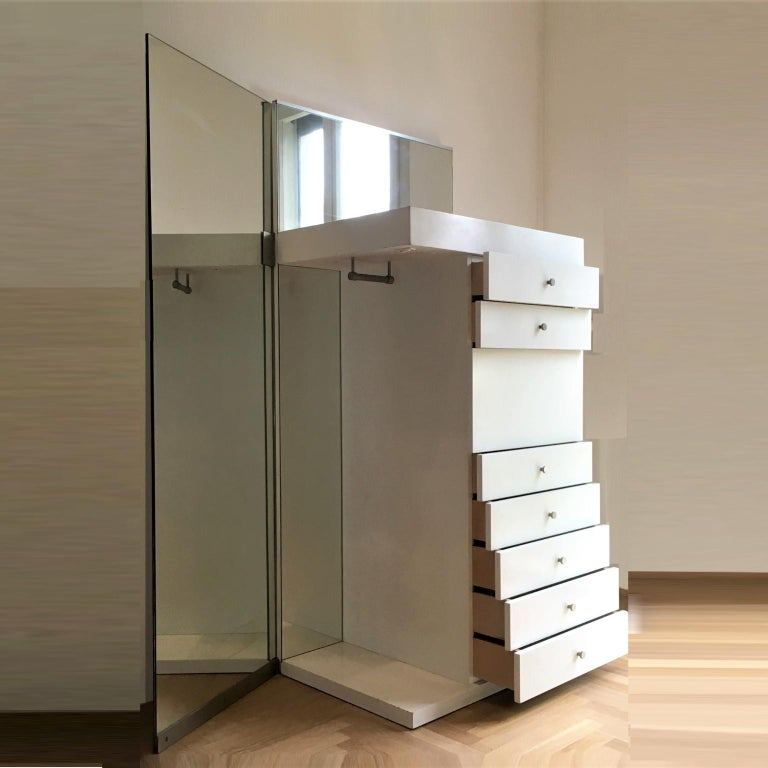 Italian 1967 Salocchi White Lacquered Mirrored High Commode with Light by Sormani, Italy For Sale