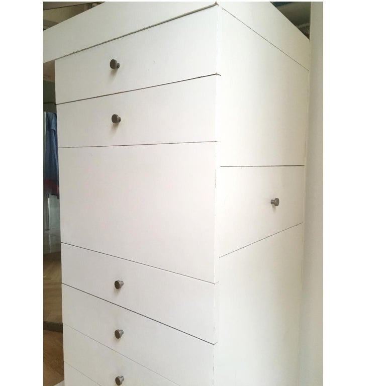 Wood 1967 Salocchi White Lacquered Mirrored High Commode with Light by Sormani, Italy For Sale