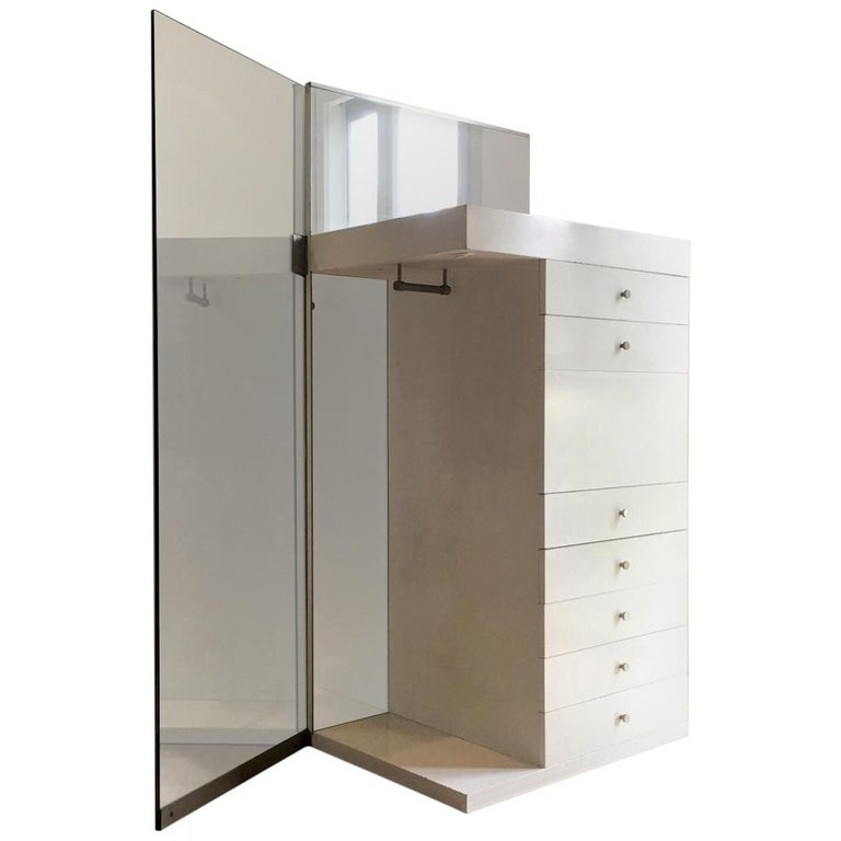1967 Salocchi White Lacquered Mirrored High Commode with Light by Sormani, Italy For Sale