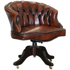 1967 Stamped Aged Brown Leather Chesterfield Brown Leather Captains Office Chair