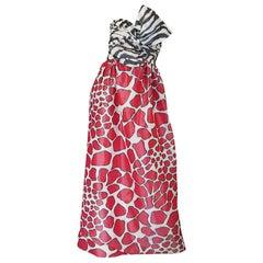 1967 Striking Silk Print Strapless Adolfo Gown