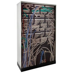 """1968-2007 """"Cleis"""" Cabinet by Osvaldo Borsani and CLS in White and Printed Metal"""
