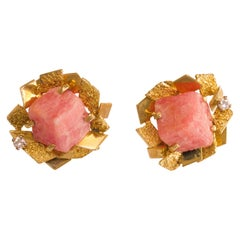 1968 Alan Gard Rhodochrosite and Gold Clip-On Earrings