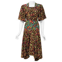 1968 Alice Pollock for Quorum Floral Print Rayon Flutter Sleeve Bias-Cut Dress