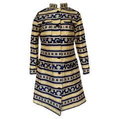 1968 Bill Blass Metallic Vogue Documented Metallic Gold & Blue Coat or Dress