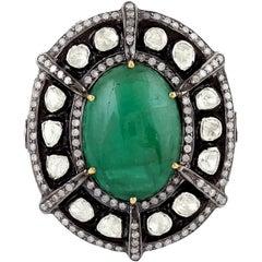19.68 Carat Emerald Rosecut Diamond Cocktail Ring