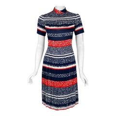 1968 Christian Dior Demi-Couture London Stripe Silk Pleated Drop-Waist Dress