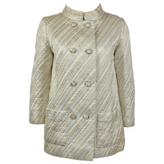 1968 Christian Dior Haute Couture Silk and Striped Lame Brocade Coat
