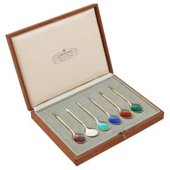 1968 Danish Sterling Silver Gilt and Enamel Spoons