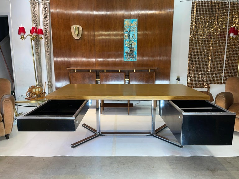 Aluminum 1968 Executive Desk For Sale