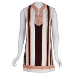 1968 Gucci Couture Cotton-Pique Striped Ivory Brown Pink Mini Tunic Dress