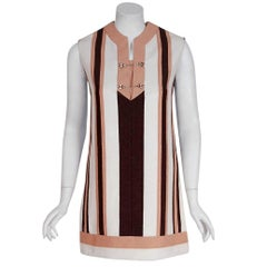 1968 Gucci Couture Cotton-Pique Striped Ivory Brown Pink Resort Mini Tunic Dress