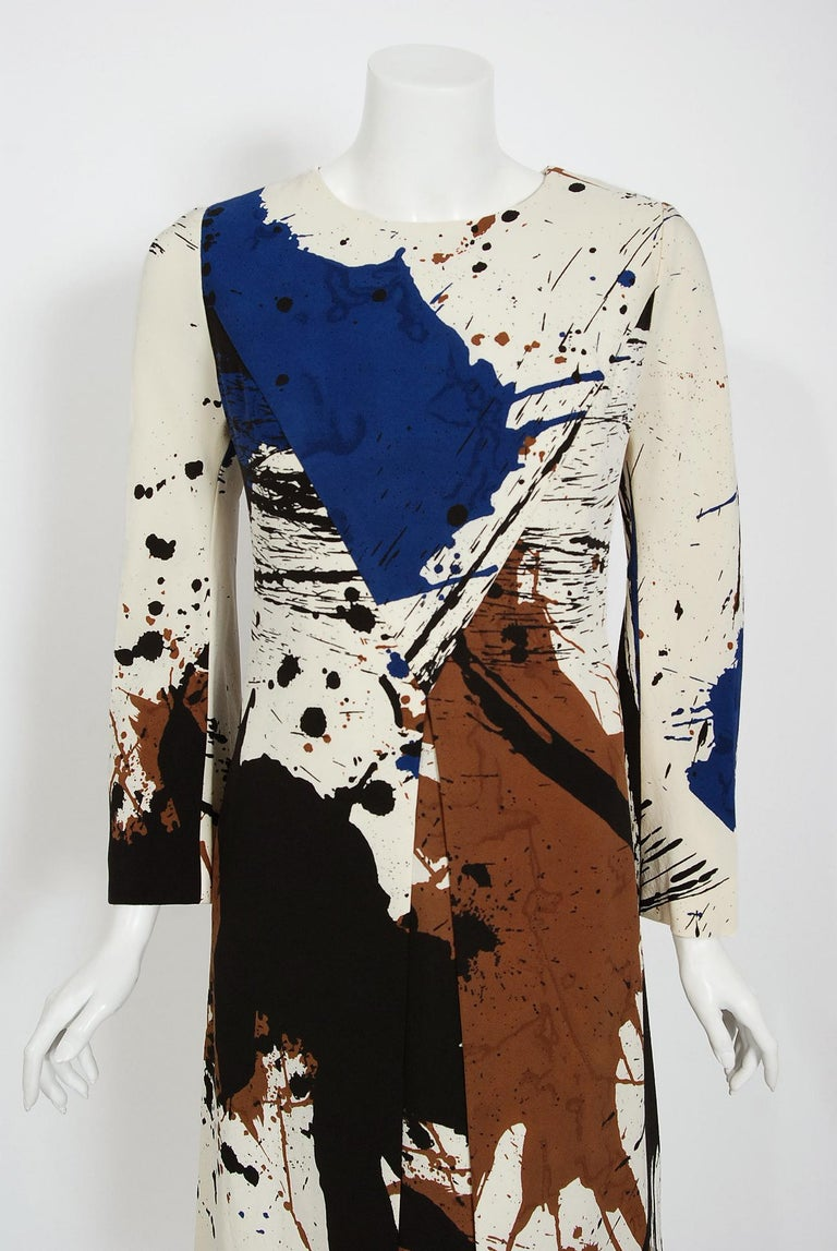 Breathtaking Hanae Mori Couture museum-quality abstract splatter print silk dress dating back to the late 1960's. Whilst on a Paris holiday in 1960, Mori had a fateful fitting with Coco Chanel. She claimed this meeting changed her life and she