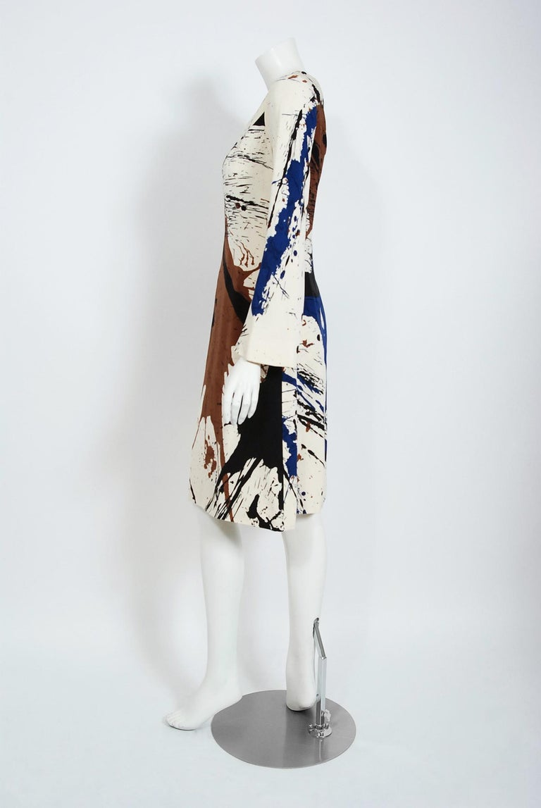 Women's or Men's Vintage 1968 Hanae Mori Couture Abstract Splatter Print Silk Long-Sleeve Dress For Sale