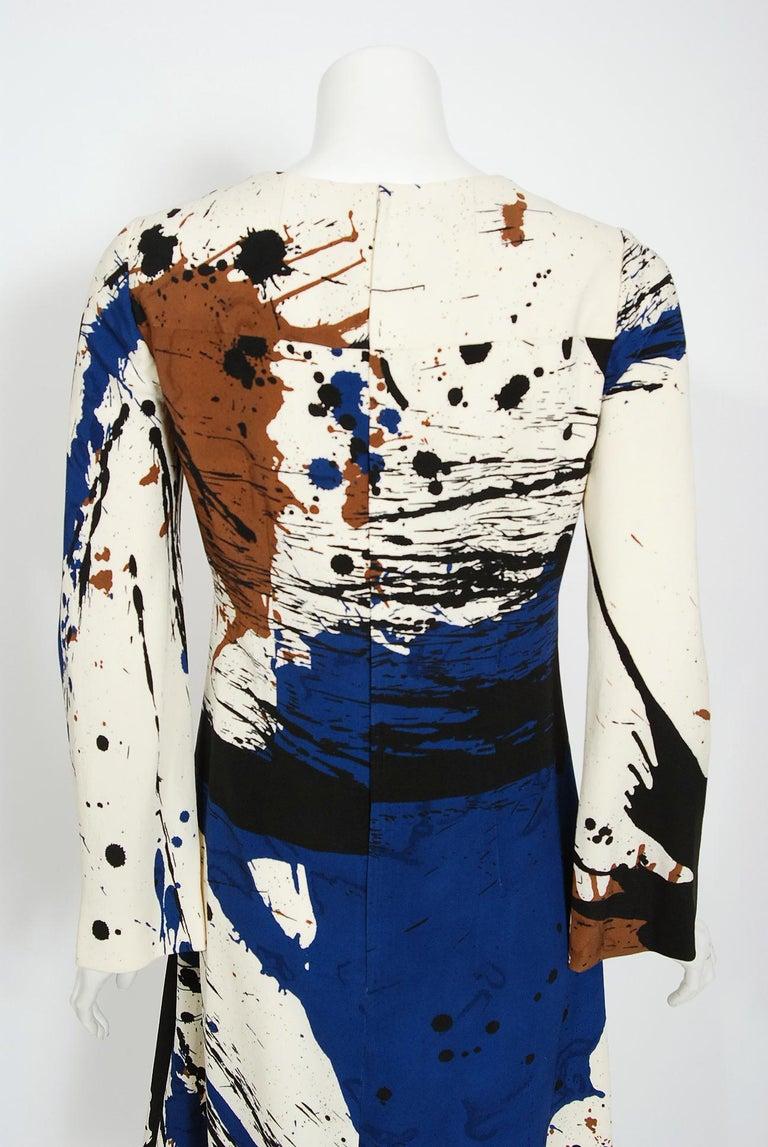 Vintage 1968 Hanae Mori Couture Abstract Splatter Print Silk Long-Sleeve Dress For Sale 2