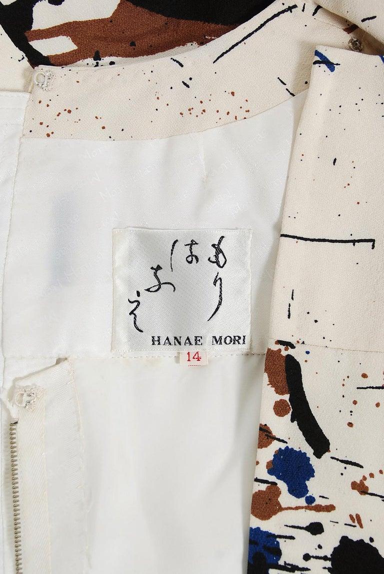 Vintage 1968 Hanae Mori Couture Abstract Splatter Print Silk Long-Sleeve Dress For Sale 3