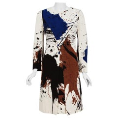 1968 Hanae Mori Couture Abstract Splatter Print Silk Long-Sleeve Mod Dress