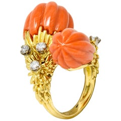 1968 Kutchinsky British Diamond Coral 18 Karat Gold Vintage Bypass Ring