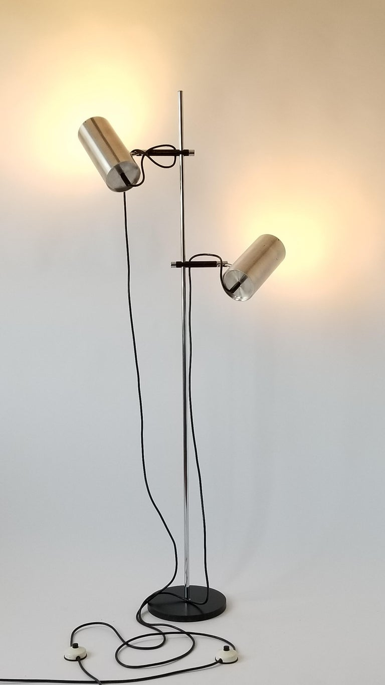 Rare twin shade floor lamp from Maria Pergay. 