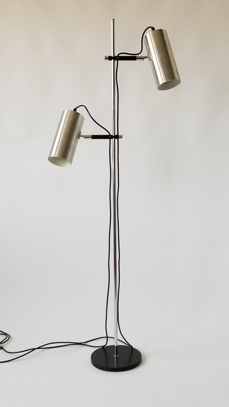 French 1968 Maria Pergay Twin Stainless Steel Shade Floor Lamp, France For Sale
