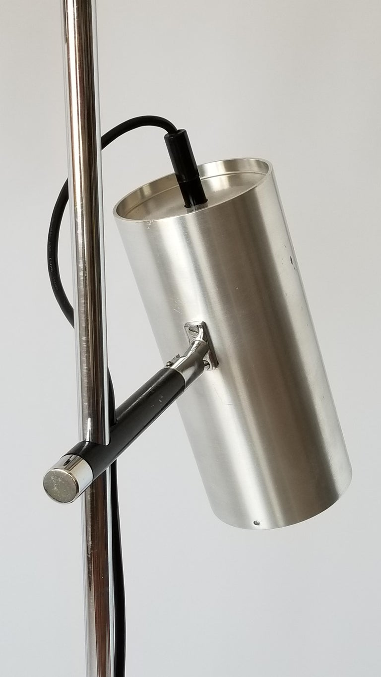 Mid-20th Century 1968 Maria Pergay Twin Stainless Steel Shade Floor Lamp, France For Sale