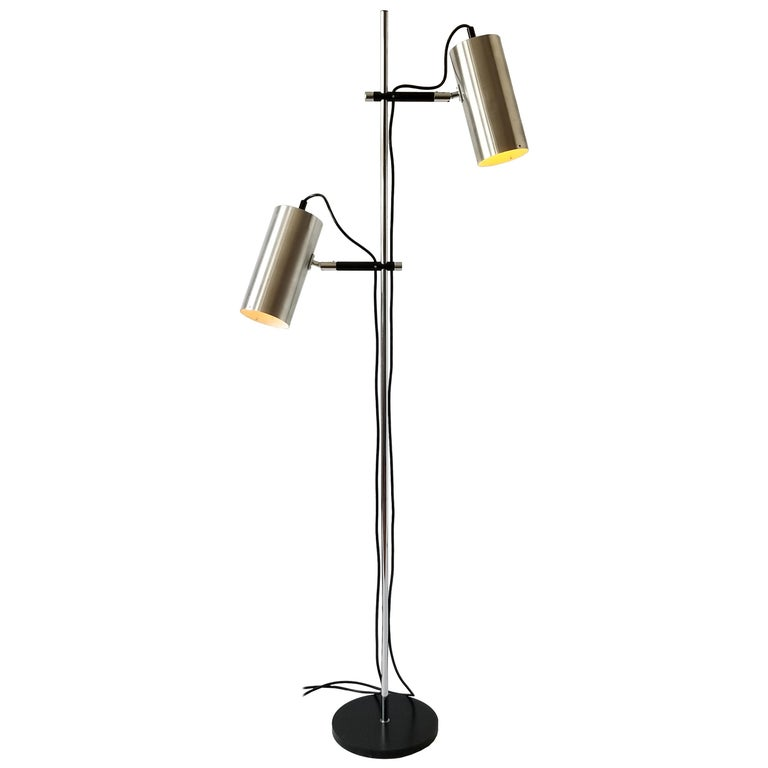 1968 Maria Pergay Twin Stainless Steel Shade Floor Lamp, France For Sale