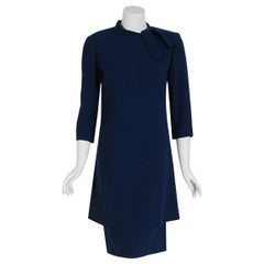 1968 Pierre Balmain Haute-Couture Navy Wool Asymmetric Buttons Mod Dress