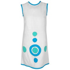 1968 Pierre Cardin Documented White and Blue Linen Applique Space Age Mod Dress