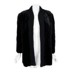 1968 Pierre Cardin Genuine Black Mink-Fur & Wool Knit Cardigan Sweater Jacket