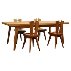 1968, Rare Dinning Set by Christian Durupt & Charlotte Perriand, Méribel