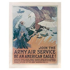 """1968 Reprint of """"Join the Army Air Service. Be an American Eagle!"""" WWI Poster"""