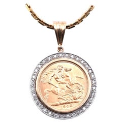 1968 Sovereign Coin with Diamond Bezel and 14 Karat Gold and Diamond Chain