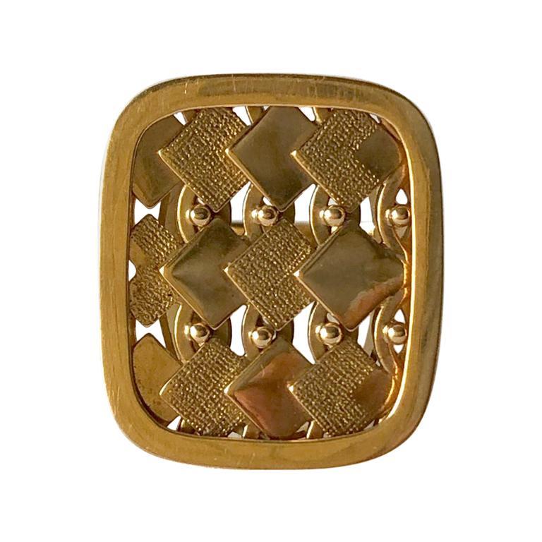 1968 Waldemar Jonsson 18 Karat Gold Swedish Modernist Textured Ring For Sale