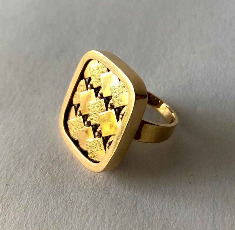 Women's 1968 Waldemar Jonsson 18 Karat Gold Swedish Modernist Textured Ring For Sale