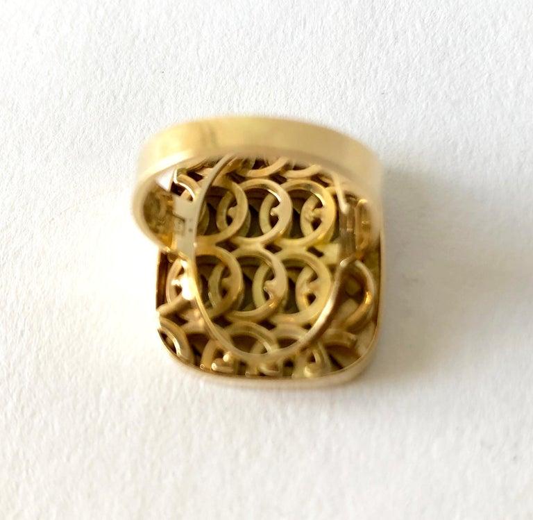 1968 Waldemar Jonsson 18 Karat Gold Swedish Modernist Textured Ring For Sale 1