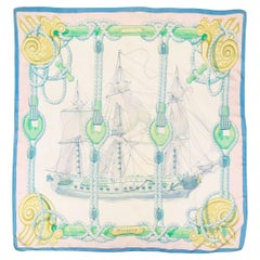 1968,  Hermes Blue Tribord by Julie Abadie Silk Scarf