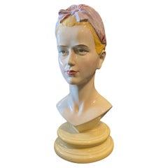 1968 Mid-Century Modern Ceramic Italian Bust of a Woman by Ronzan