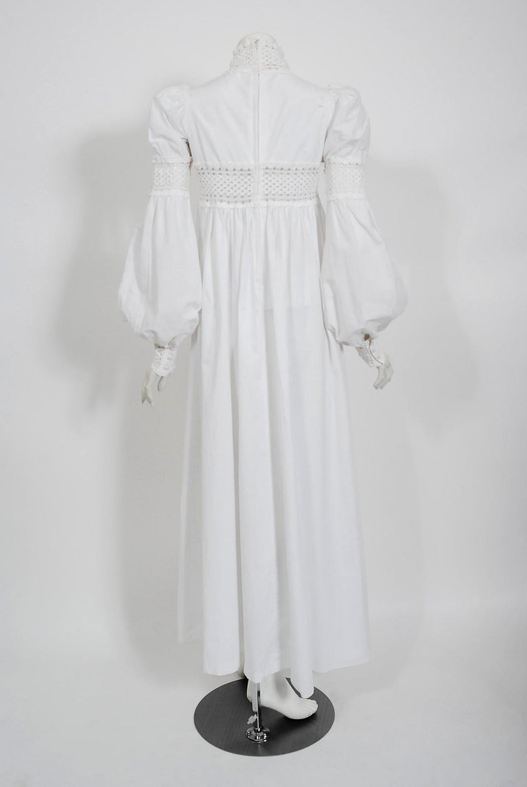Vintage 1969 Biba Documented White Cotton Lace Billow-Sleeve Maxi Dress & Jacket For Sale 5