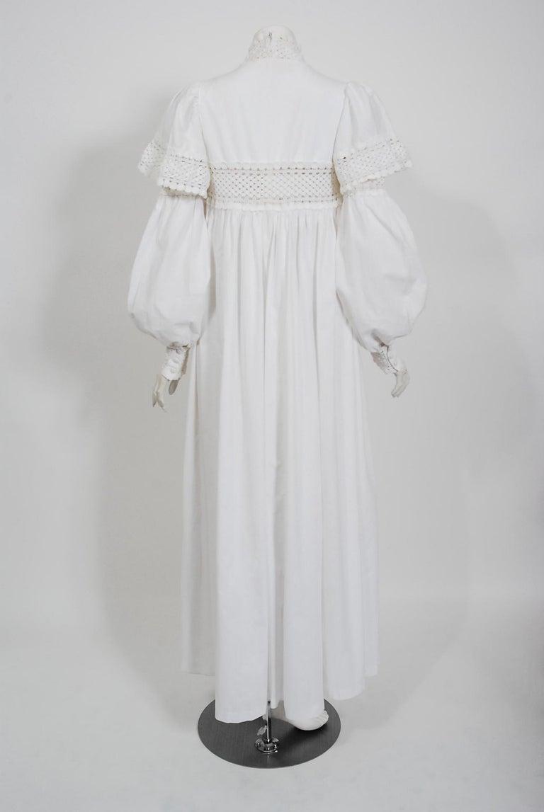 Vintage 1969 Biba Documented White Cotton Lace Billow-Sleeve Maxi Dress & Jacket For Sale 6