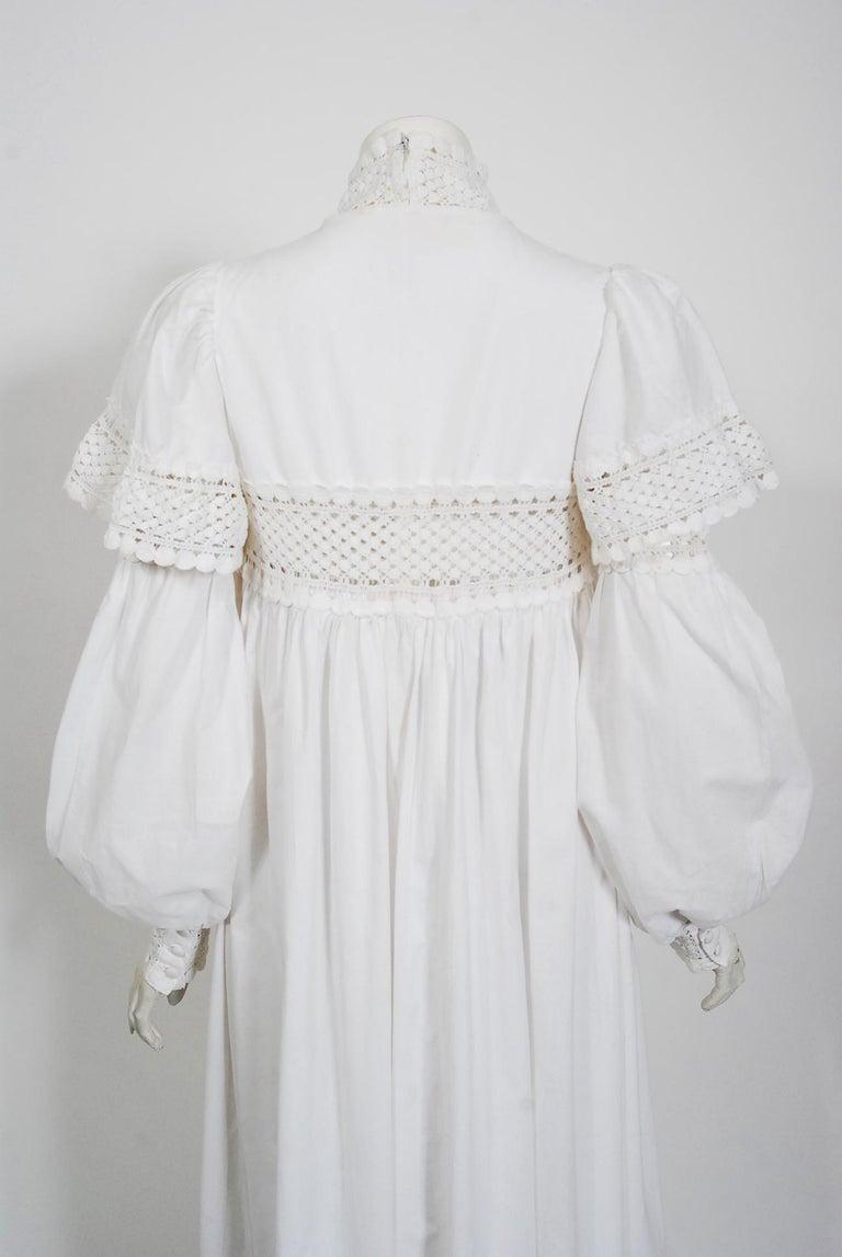 Vintage 1969 Biba Documented White Cotton Lace Billow-Sleeve Maxi Dress & Jacket For Sale 7
