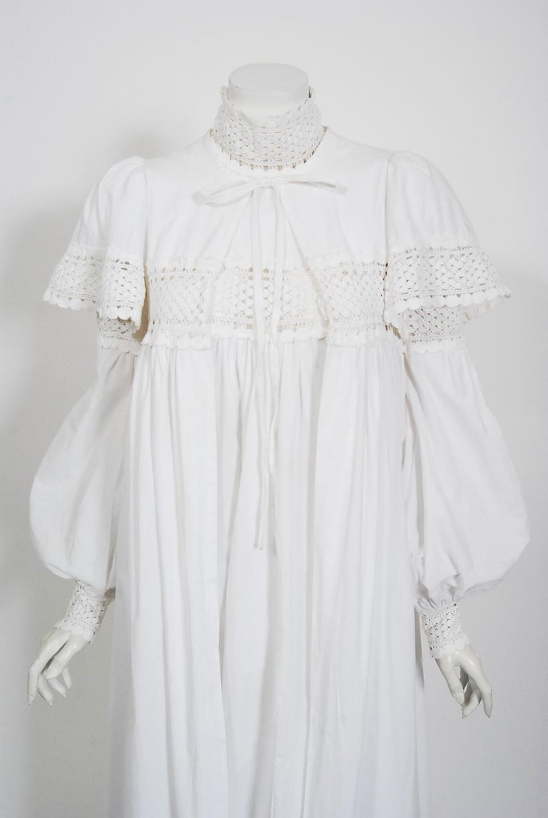 Gray Vintage 1969 Biba Documented White Cotton Lace Billow-Sleeve Maxi Dress & Jacket For Sale