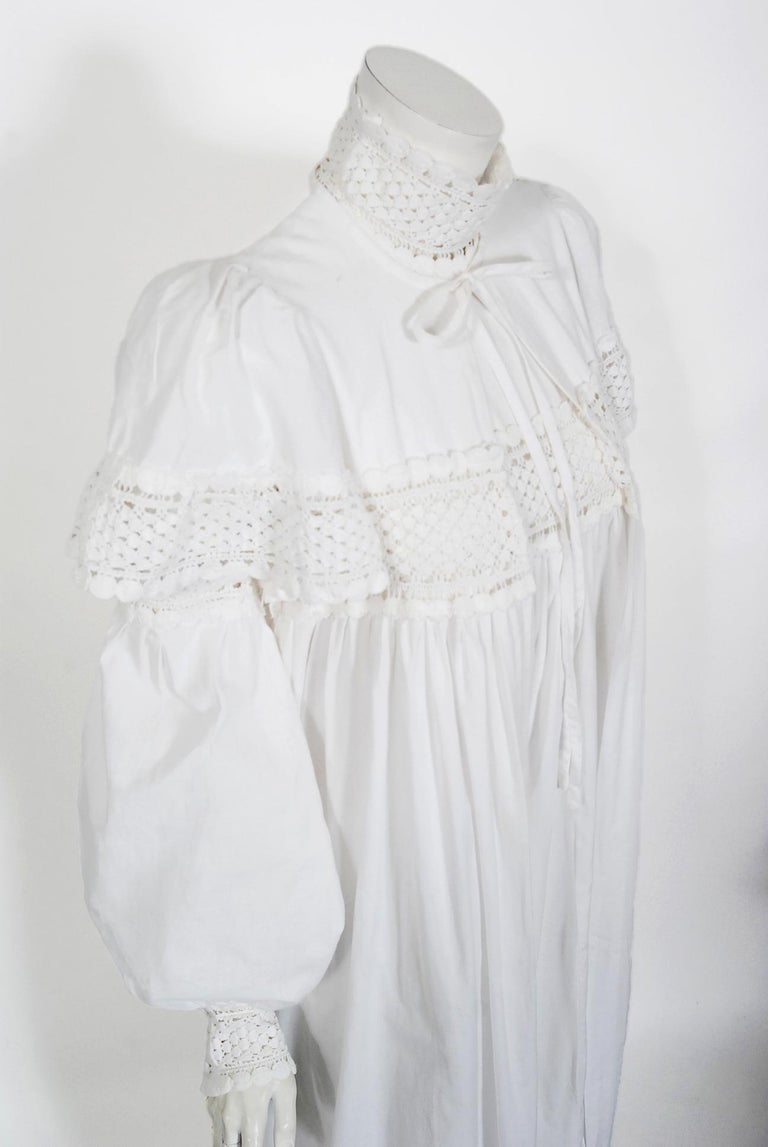 Vintage 1969 Biba Documented White Cotton Lace Billow-Sleeve Maxi Dress & Jacket In Good Condition For Sale In Beverly Hills, CA