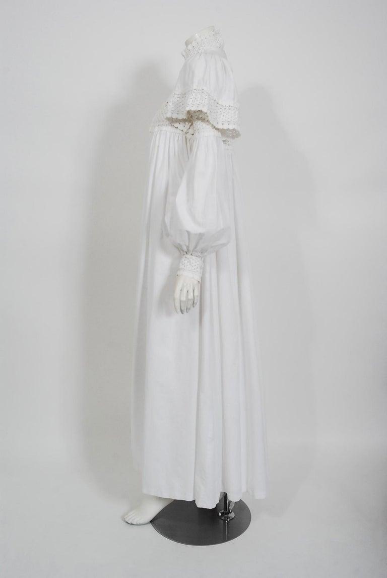 Women's Vintage 1969 Biba Documented White Cotton Lace Billow-Sleeve Maxi Dress & Jacket For Sale