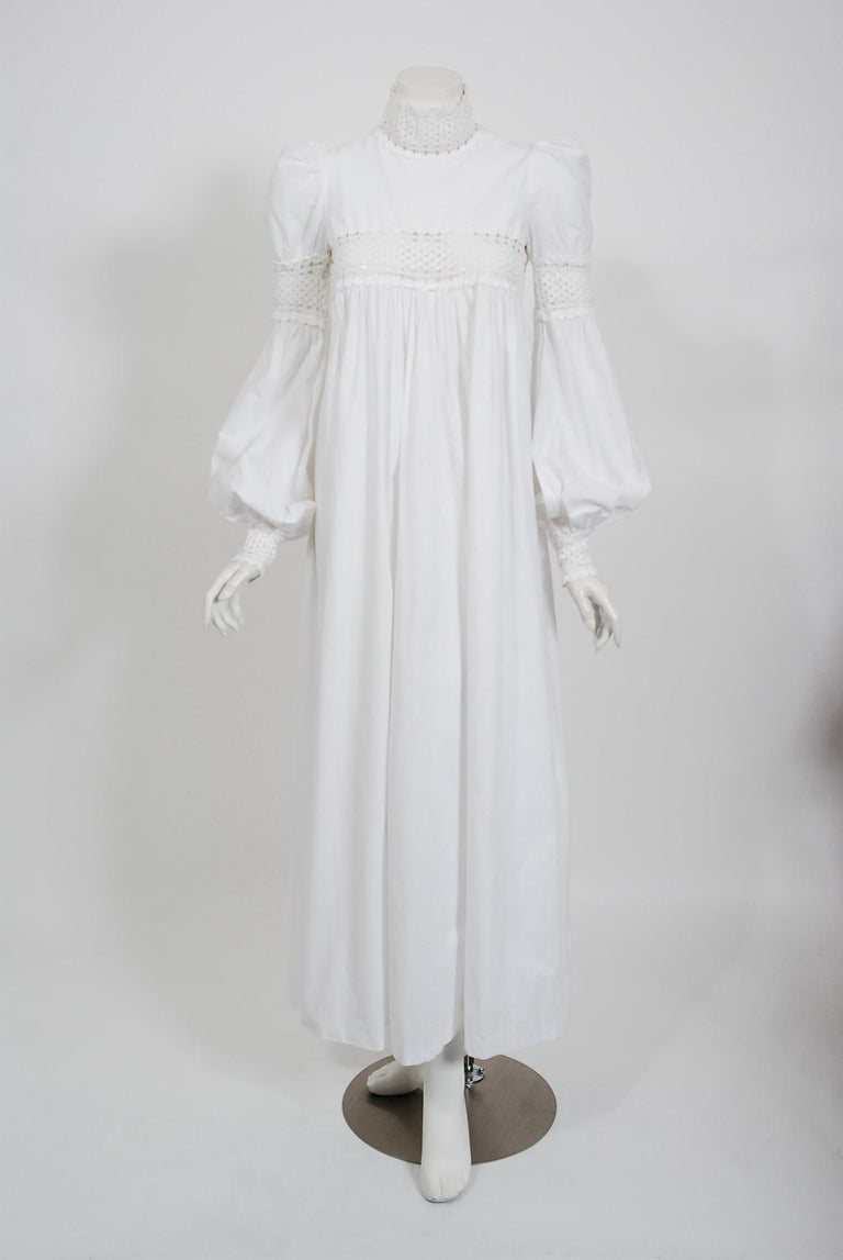 Vintage 1969 Biba Documented White Cotton Lace Billow-Sleeve Maxi Dress & Jacket For Sale 1