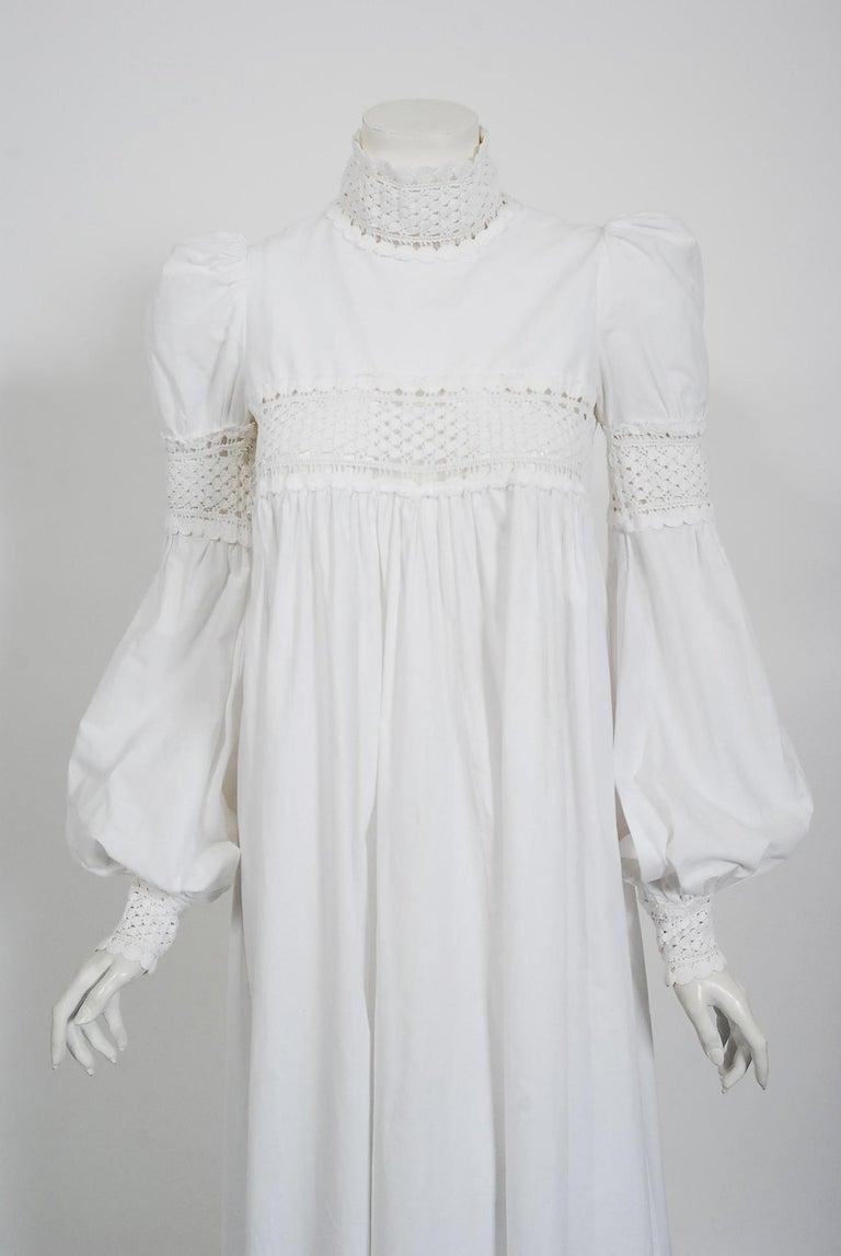 Vintage 1969 Biba Documented White Cotton Lace Billow-Sleeve Maxi Dress & Jacket For Sale 2